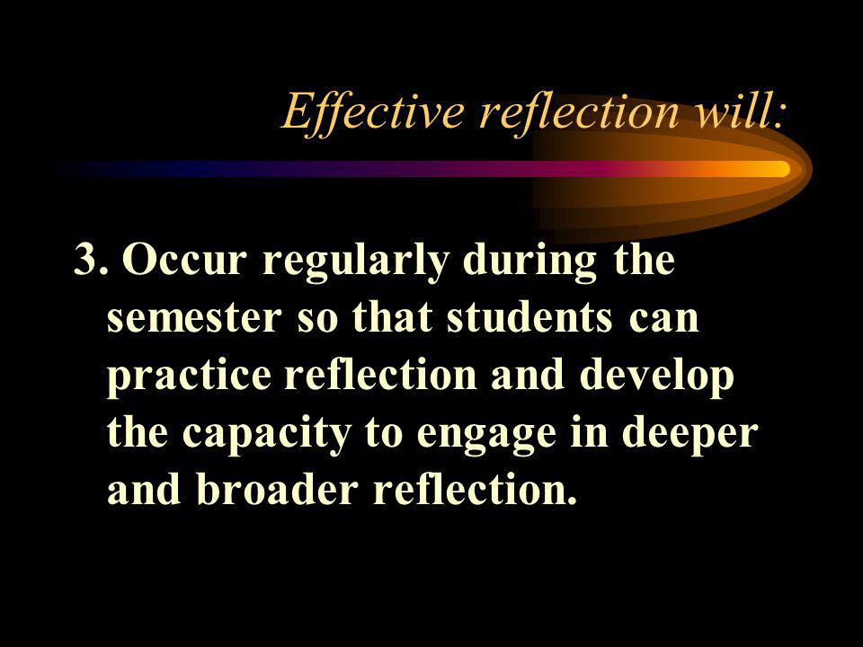 Effective reflection will: 3.