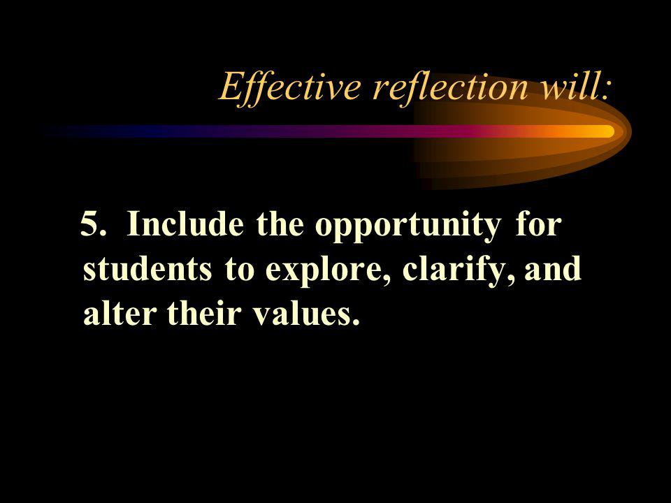 Effective reflection will: 5.