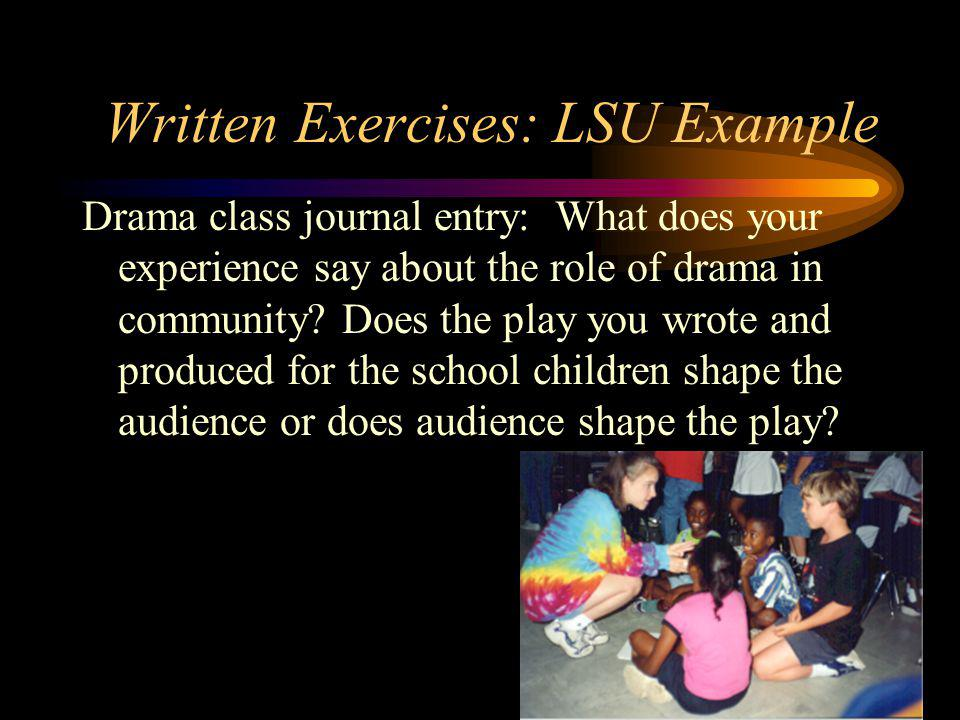 Written Exercises: LSU Example Drama class journal entry: What does your experience say about the role of drama in community.