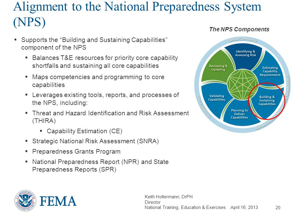 Keith Holtermann, DrPH Director National Training, Education & Exercises April 16, 2013 Alignment to the National Preparedness System (NPS)  Supports