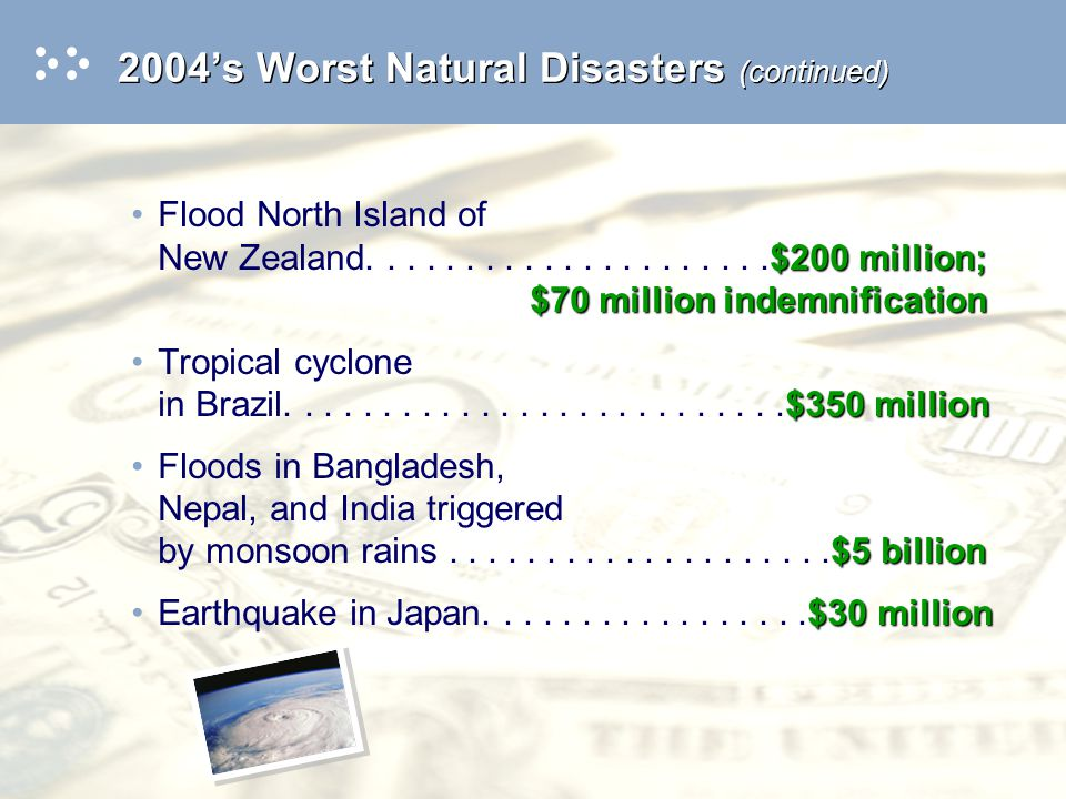Use or disclosure of data on this sheet is subject to the restriction on the title page of this presentation 2004's Worst Natural Disasters (continued) Floods in Botswana and surrounding countries $400 millionEarthquake in Morocco..............$400 million Finally, a separate word about the tsunami, which has taken almost 300,000 lives, including those who are still missing: –Need for warning system – US spending $37.5 million to set up a deep-sea warning system around its coastline –International Tsunami Center reports not if , but when
