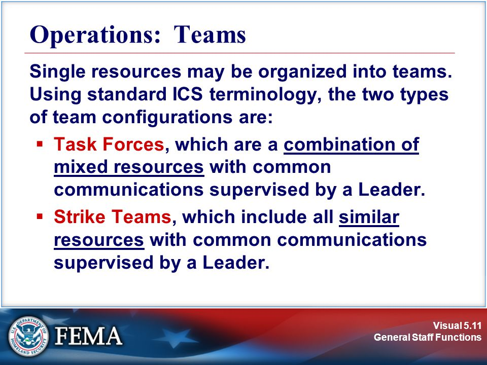 Visual 5.11 General Staff Functions Operations: Teams Single resources may be organized into teams.