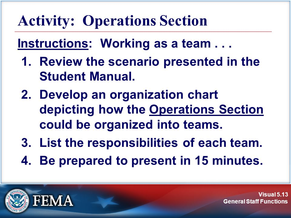 Visual 5.13 General Staff Functions Activity: Operations Section Instructions: Working as a team...