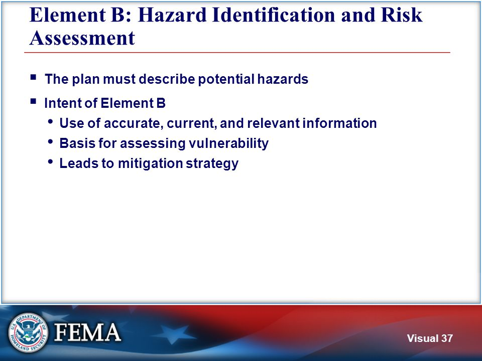 Visual 37 Element B: Hazard Identification and Risk Assessment  The plan must describe potential hazards  Intent of Element B Use of accurate, curre