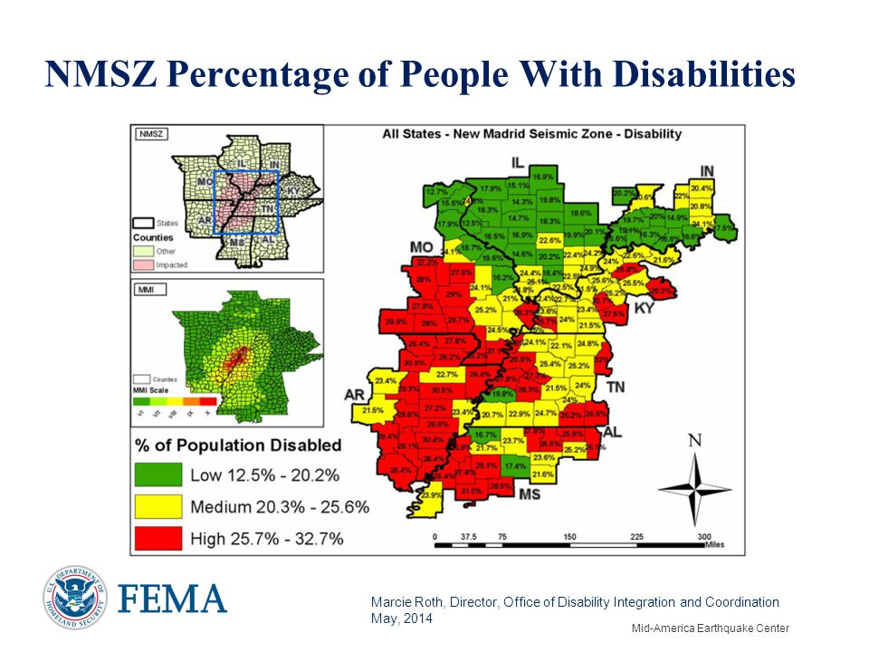 Marcie Roth, Director, Office of Disability Integration and Coordination May, 2014 NMSZ Percentage of People With Disabilities Mid-America Earthquake Center
