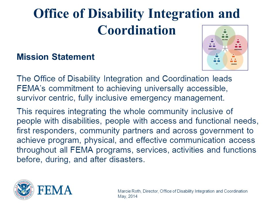 Marcie Roth, Director, Office of Disability Integration and Coordination May, 2014 Disability and Access and Functional Needs Specific Training: 24 Have we covered all of the bases?