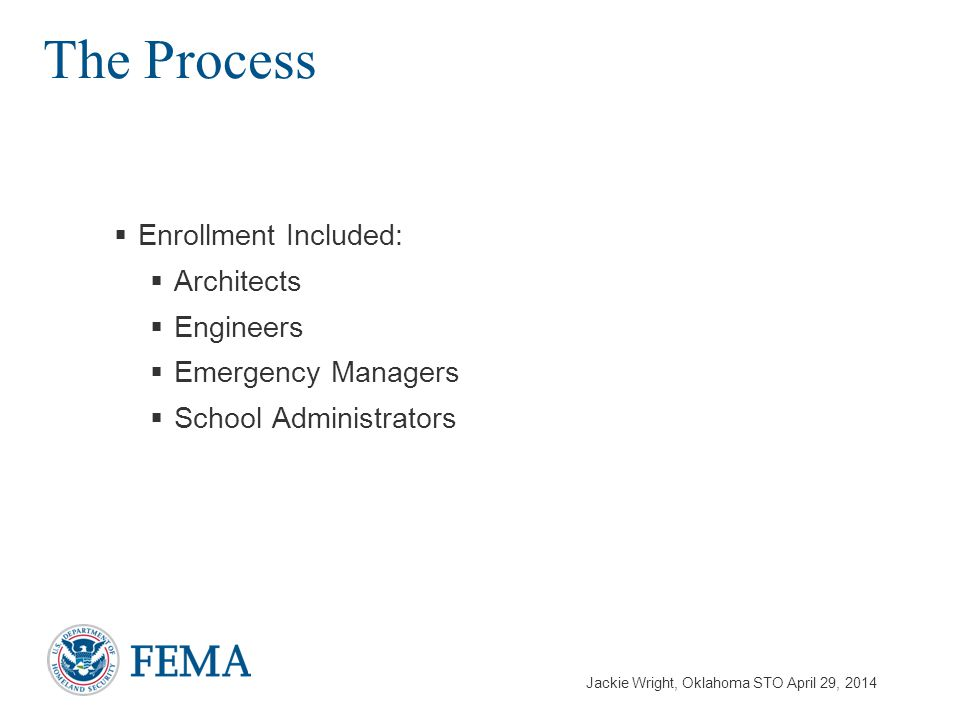 Jackie Wright, Oklahoma STO April 29, 2014  Enrollment Included:  Architects  Engineers  Emergency Managers  School Administrators The Process