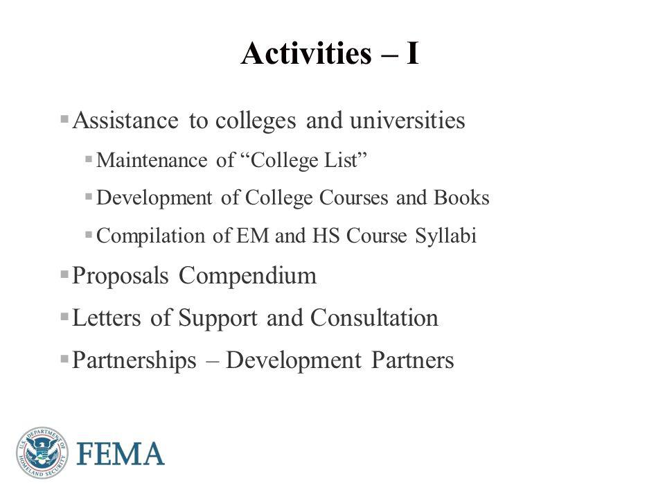 Presenter's Name June 17, 2003  EM Higher Education Symposium at EMI  Virtual Symposia/Webinars  Focus Groups  Website - https://training.fema.gov/EMIWeb/eduhttps://training.fema.gov/EMIWeb/edu Activities – II 5