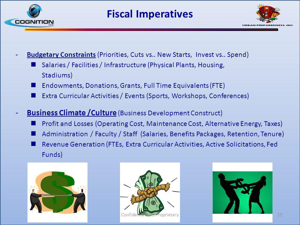 Fiscal Imperatives -Budgetary Constraints (Priorities, Cuts vs.. New Starts, Invest vs.. Spend) Salaries / Facilities / Infrastructure (Physical Plant