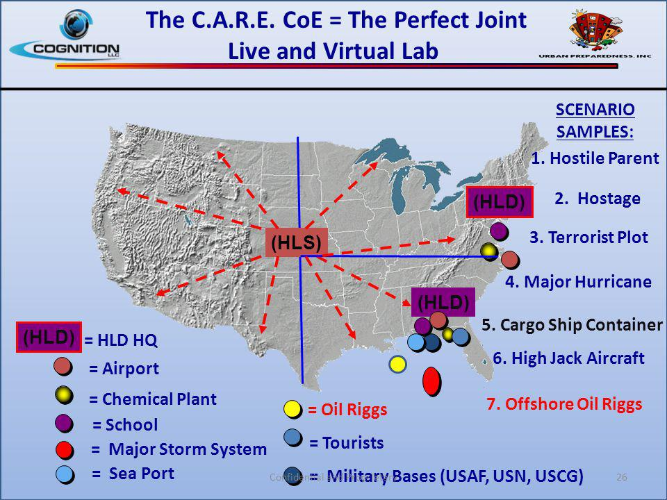 (HLD) (HLS) = School = Chemical Plant = Airport = HLD HQ = Major Storm System = Sea Port = Military Bases (USAF, USN, USCG) = Tourists The C.A.R.E. Co