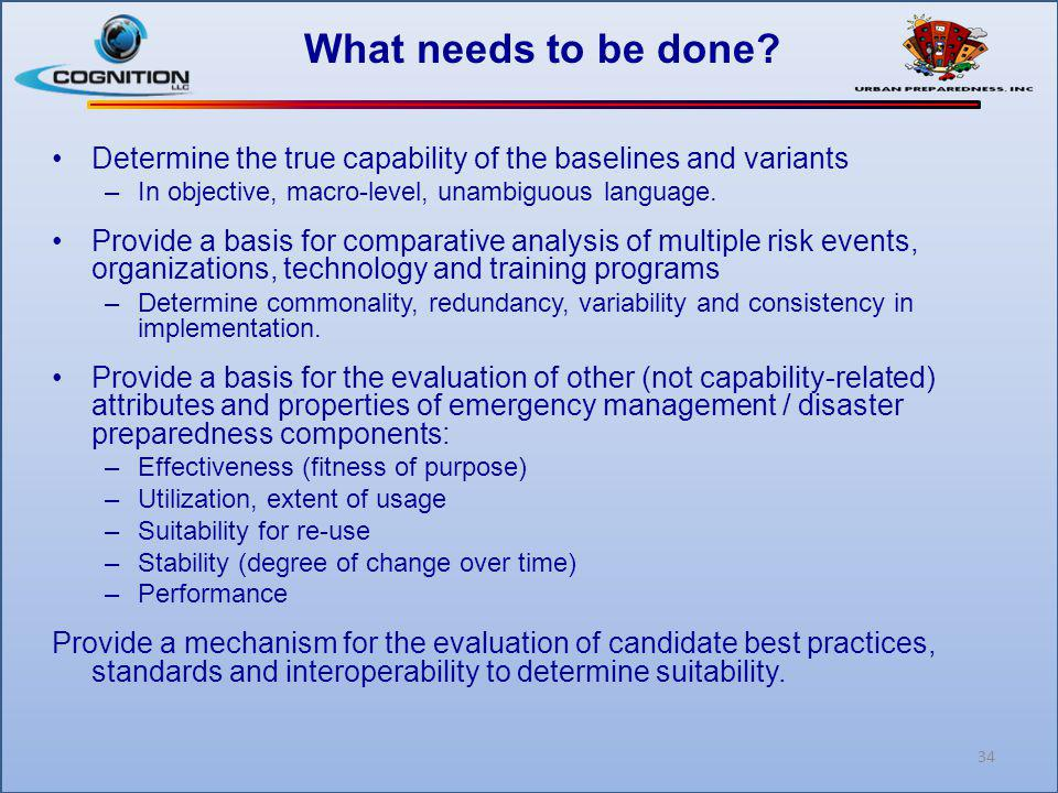 What needs to be done? Determine the true capability of the baselines and variants –In objective, macro-level, unambiguous language. Provide a basis f