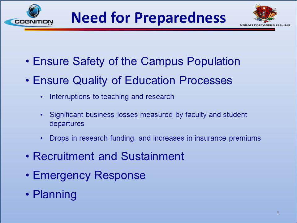5 Need for Preparedness Ensure Safety of the Campus Population Ensure Quality of Education Processes Interruptions to teaching and research Significan