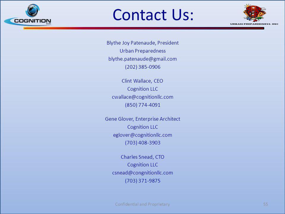 Contact Us: Blythe Joy Patenaude, President Urban Preparedness blythe.patenaude@gmail.com (202) 385-0906 Clint Wallace, CEO Cognition LLC cwallace@cog