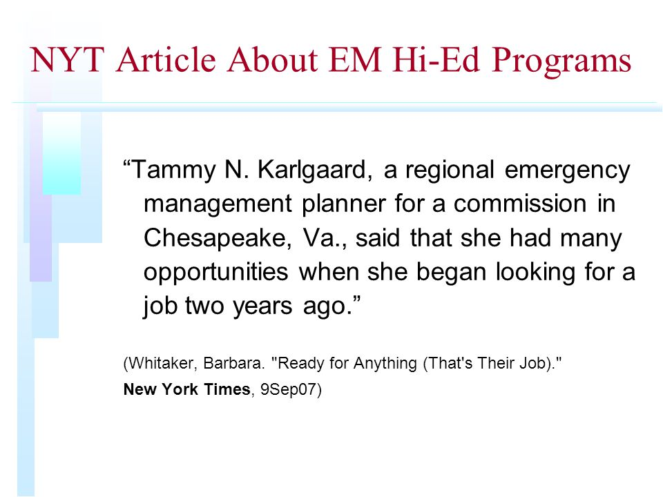 NYT Article About EM Hi-Ed Programs Tammy N.