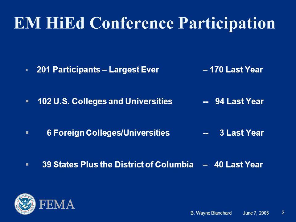 B. Wayne Blanchard June 7, 2005 2 EM HiEd Conference Participation  201 Participants – Largest Ever – 170 Last Year  102 U.S. Colleges and Universit