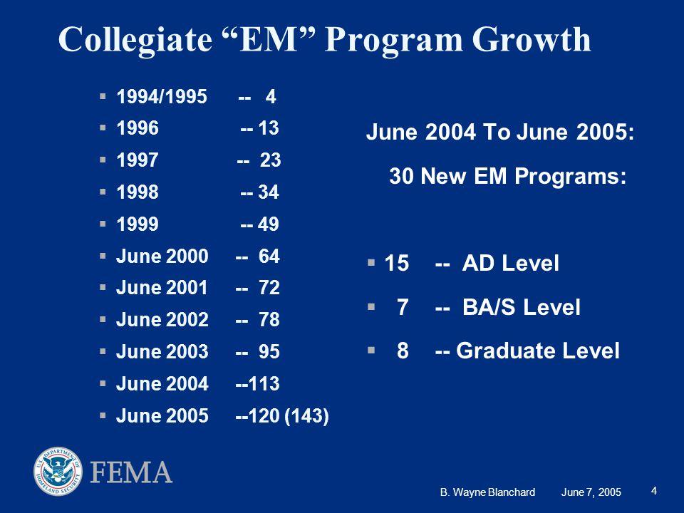 "B. Wayne Blanchard June 7, 2005 4 Collegiate ""EM"" Program Growth  1994/1995 -- 4  1996 -- 13  1997 -- 23  1998 -- 34  1999 -- 49  June 2000-- 64"