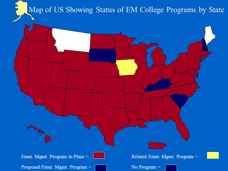 Map of US Showing Status of EM College Programs by State Emer.