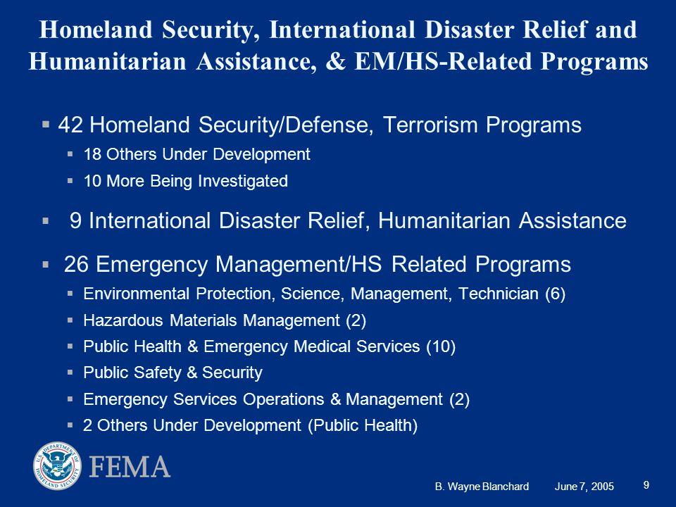 B. Wayne Blanchard June 7, 2005 9 Homeland Security, International Disaster Relief and Humanitarian Assistance, & EM/HS-Related Programs  42 Homeland