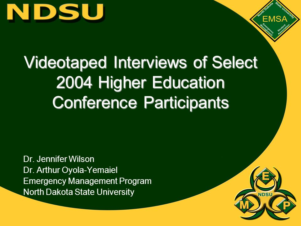 Videotaped Interviews of Select 2004 Higher Education Conference Participants Dr.