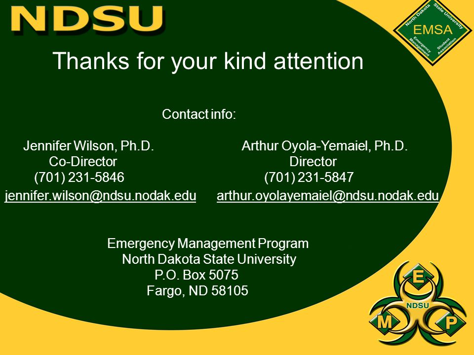 Thanks for your kind attention Contact info: Jennifer Wilson, Ph.D.