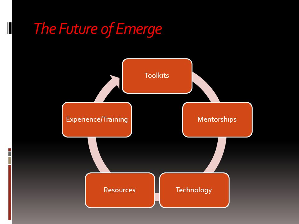 The Future of Emerge ToolkitsMentorshipsTechnologyResourcesExperience/Training  Toolkits  Experience/Training  Mentorships  Resources  Technology