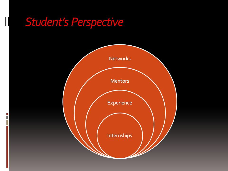 Student's Perspective Networks Mentors Experience Internships  Networks  Mentors  Experience  Internships
