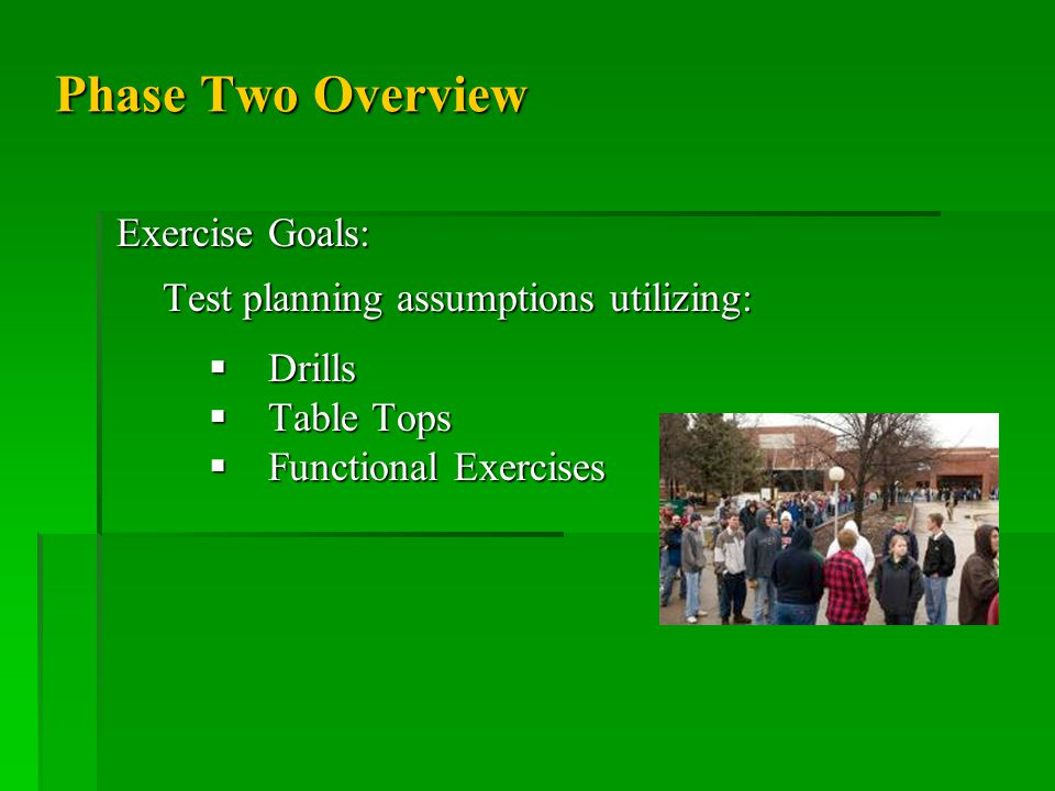 Phase Two Overview Exercise Goals: Test planning assumptions utilizing:  Drills  Table Tops  Functional Exercises