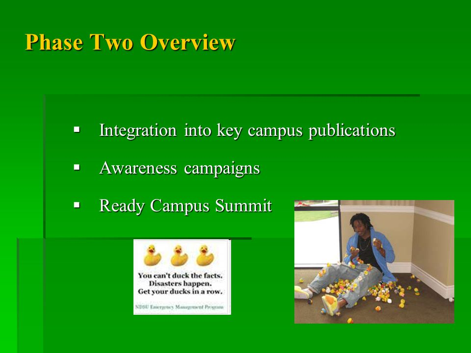 Phase Two Overview  Integration into key campus publications  Awareness campaigns  Ready Campus Summit