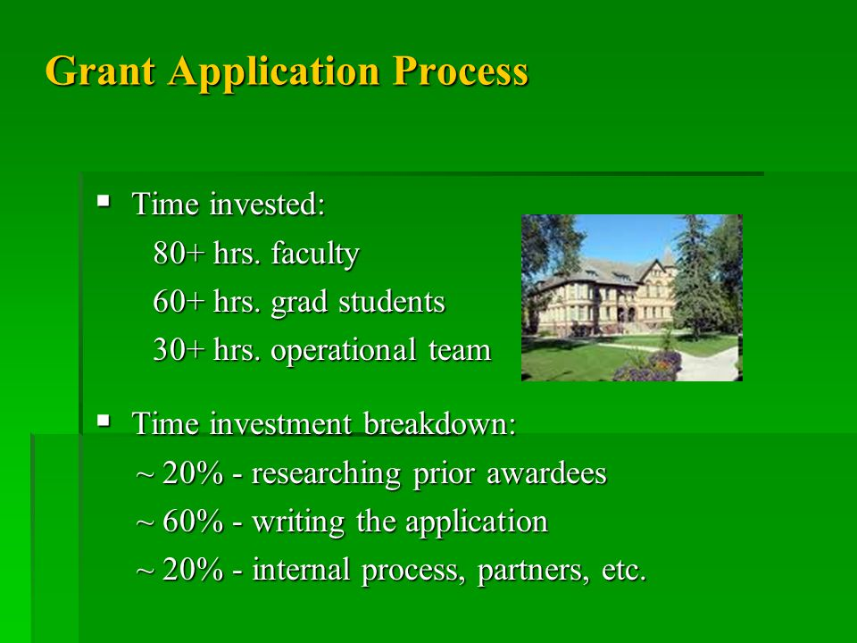 Grant Application Process  Time invested: 80+ hrs.