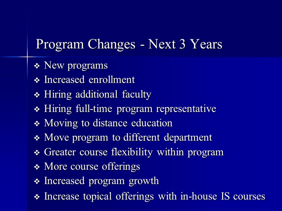 Program Changes - Next 3 Years  New programs  Increased enrollment  Hiring additional faculty  Hiring full-time program representative  Moving to