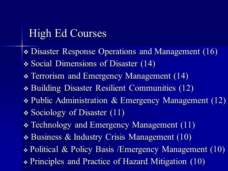 Disaster Response Operations and Management (16)  Disaster Response Operations and Management (16)  Social Dimensions of Disaster (14)  Terrorism a