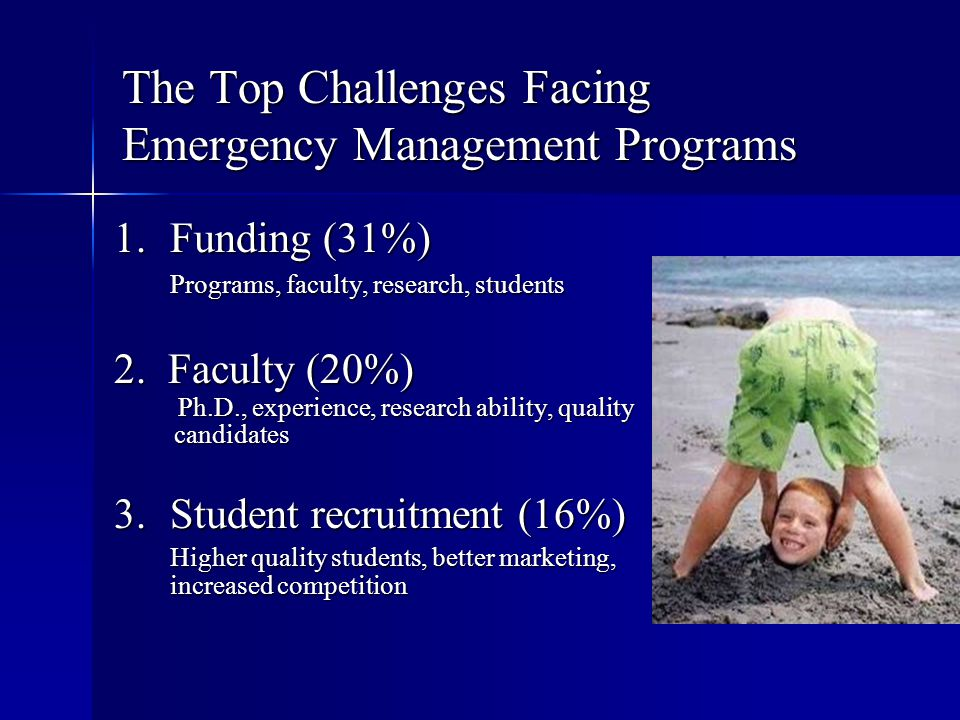 The Top Challenges Facing Emergency Management Programs 1.Funding (31%) Programs, faculty, research, students 2. Faculty (20%) Ph.D., experience, rese