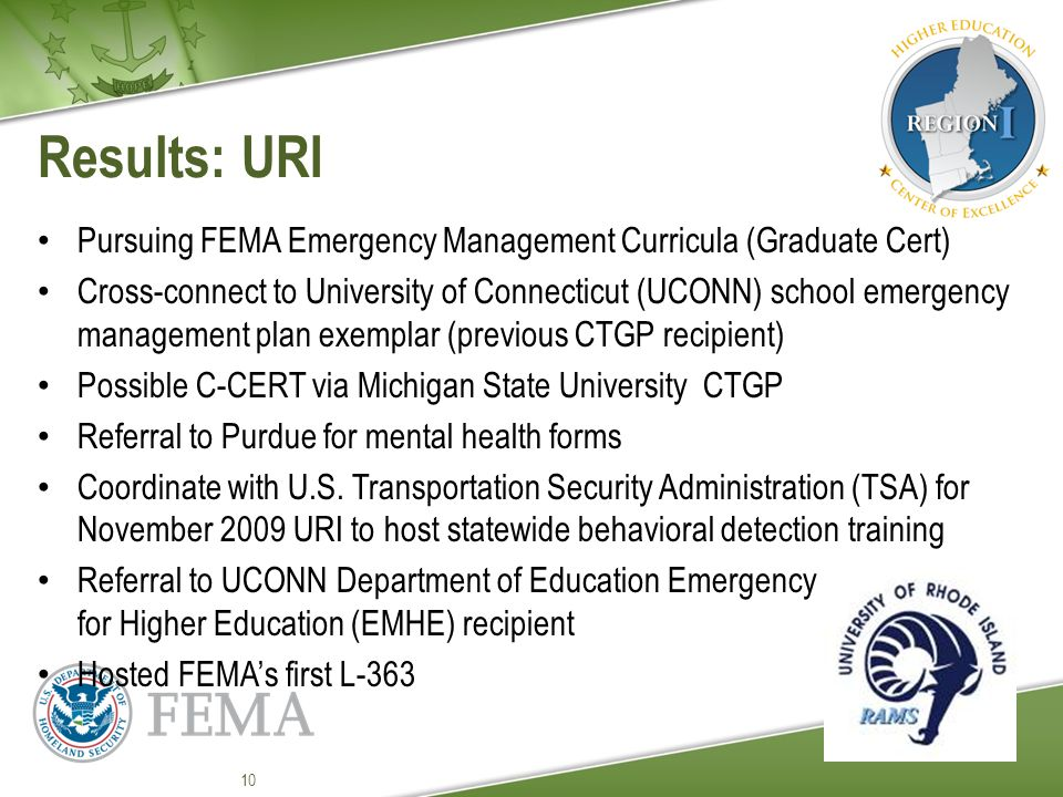 Results: URI Pursuing FEMA Emergency Management Curricula (Graduate Cert) Cross-connect to University of Connecticut (UCONN) school emergency management plan exemplar (previous CTGP recipient) Possible C-CERT via Michigan State University CTGP Referral to Purdue for mental health forms Coordinate with U.S.