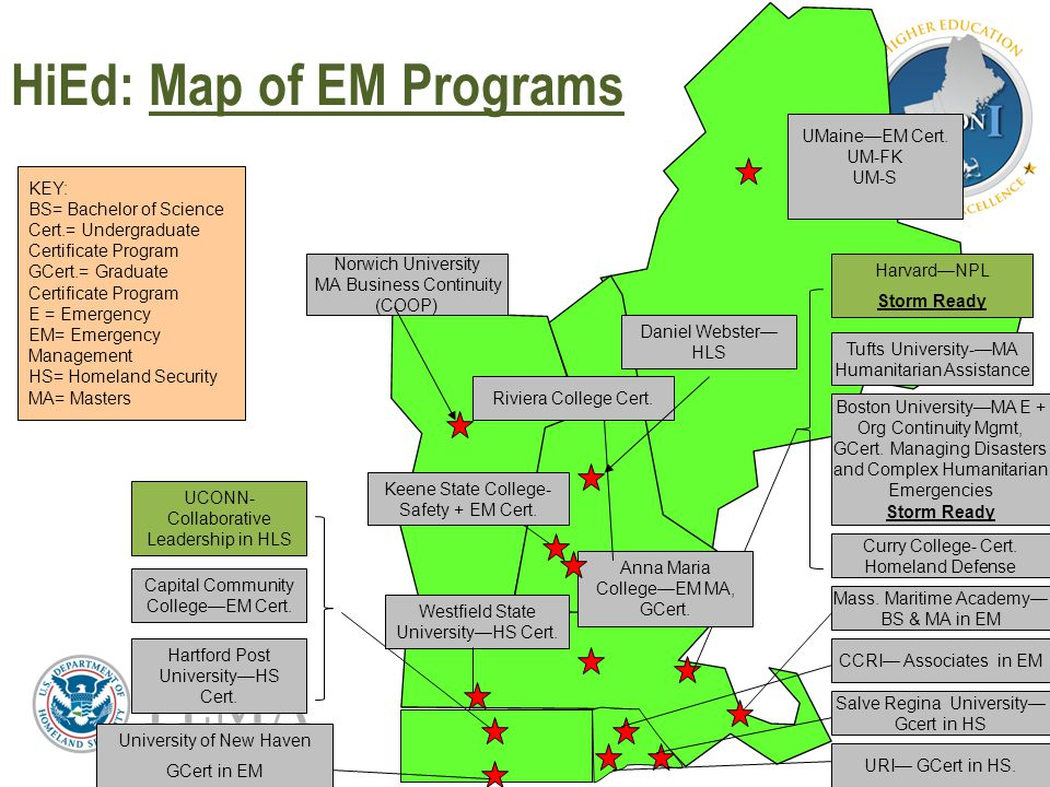 HiEd: Map of EM Programs 7 KEY: BS= Bachelor of Science Cert.= Undergraduate Certificate Program GCert.= Graduate Certificate Program E = Emergency EM= Emergency Management HS= Homeland Security MA= Masters Hartford Post University—HS Cert.