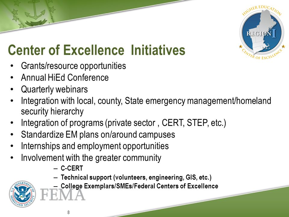Case Study: University of Rhode Island (URI) Requested assistance with school emergency management plans Competitive Training Grant Program (CTGP) Recipient Strong leadership as recommended by Rhode Island Emergency Management Agency (RIEMA) Standard brief yields added concerns and emphasis areas (law enforcement officer relations, Virginia Tech scenario, student mental health assessments) 9