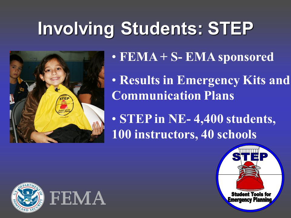 Involving Students: STEP FEMA + S- EMA sponsored Results in Emergency Kits and Communication Plans STEP in NE- 4,400 students, 100 instructors, 40 schools