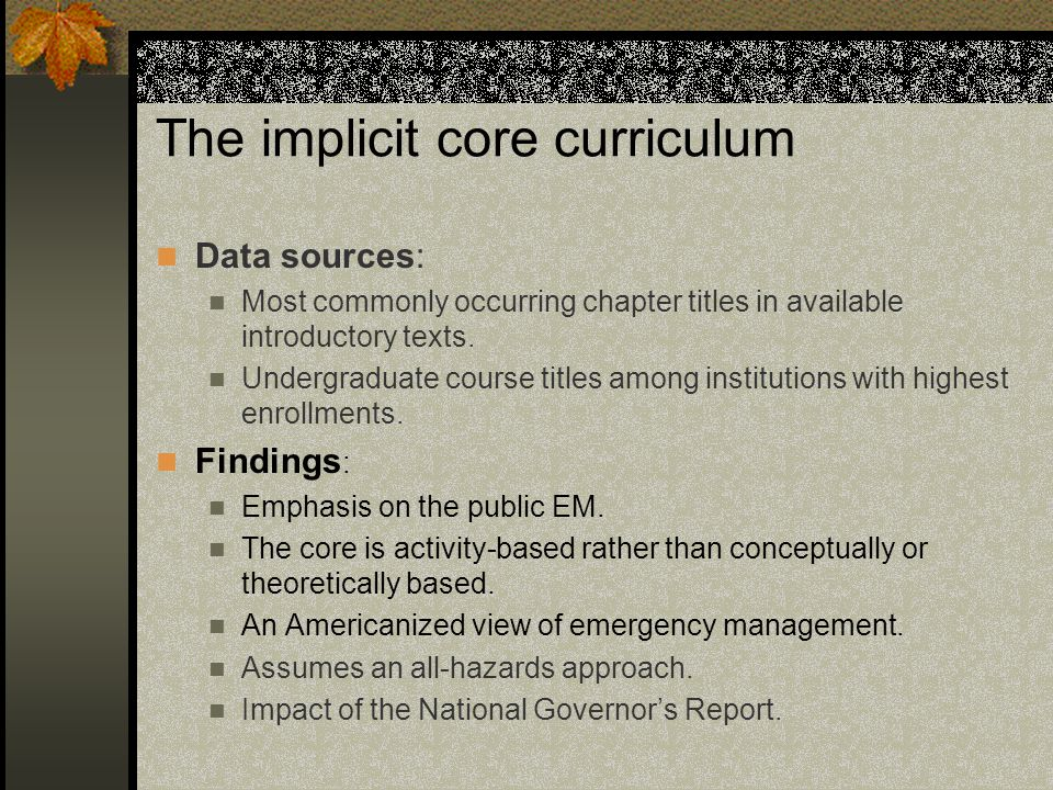 The implicit core curriculum Data sources: Most commonly occurring chapter titles in available introductory texts.
