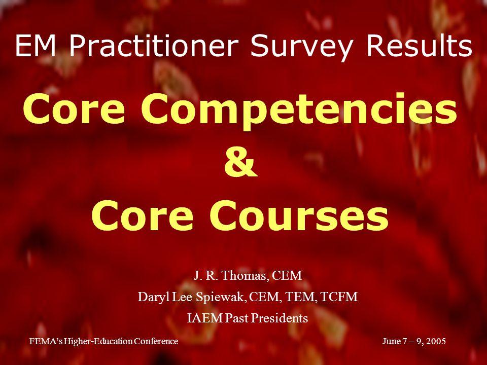 June 7 – 9, 2005FEMA's Higher-Education Conference EM Practitioner Survey Results Core Competencies & Core Courses J.