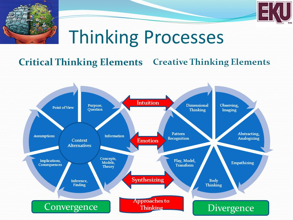 Thinking Processes Critical Thinking Elements Creative Thinking Elements Observing, Imaging Abstracting, Analogizing Empathizing Body Thinking Play, M