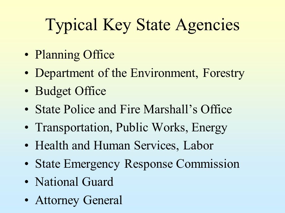 Typical Key State Agencies Planning Office Department of the Environment, Forestry Budget Office State Police and Fire Marshall's Office Transportation, Public Works, Energy Health and Human Services, Labor State Emergency Response Commission National Guard Attorney General