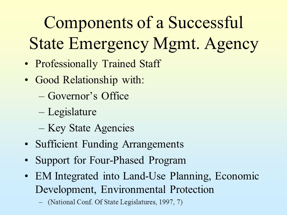 Components of a Successful State Emergency Mgmt.