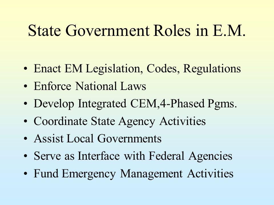 State Government Roles in E.M.