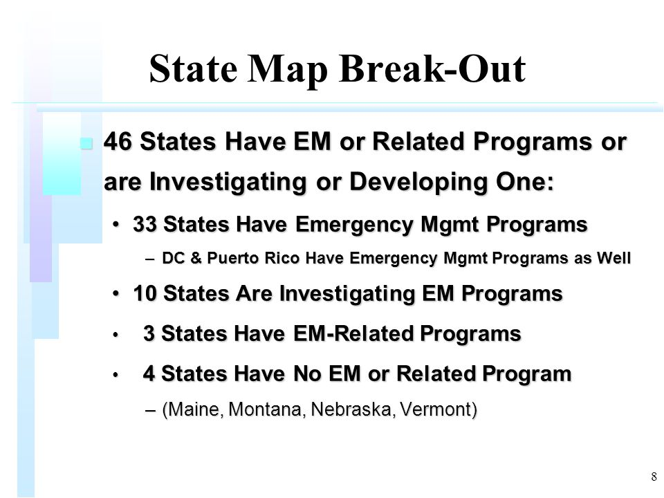 8 State Map Break-Out n 46 States Have EM or Related Programs or are Investigating or Developing One: 33 States Have Emergency Mgmt Programs33 States Have Emergency Mgmt Programs –DC & Puerto Rico Have Emergency Mgmt Programs as Well 10 States Are Investigating EM Programs10 States Are Investigating EM Programs 3 States Have EM-Related Programs 3 States Have EM-Related Programs 4 States Have No EM or Related Program 4 States Have No EM or Related Program –(Maine, Montana, Nebraska, Vermont)