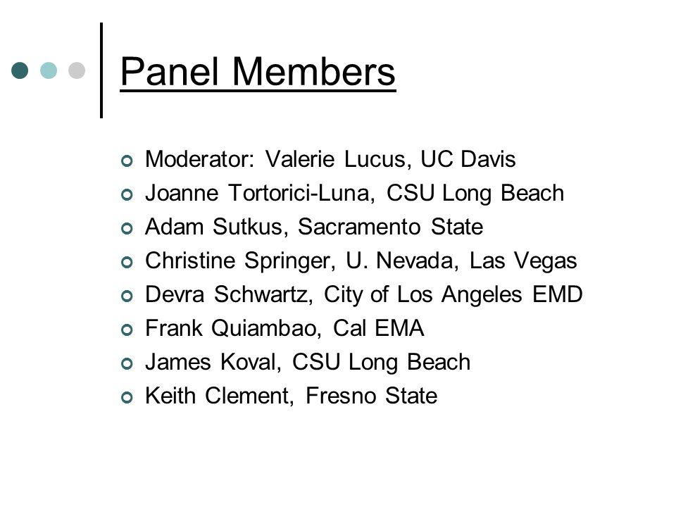Panel Members Moderator: Valerie Lucus, UC Davis Joanne Tortorici-Luna, CSU Long Beach Adam Sutkus, Sacramento State Christine Springer, U.