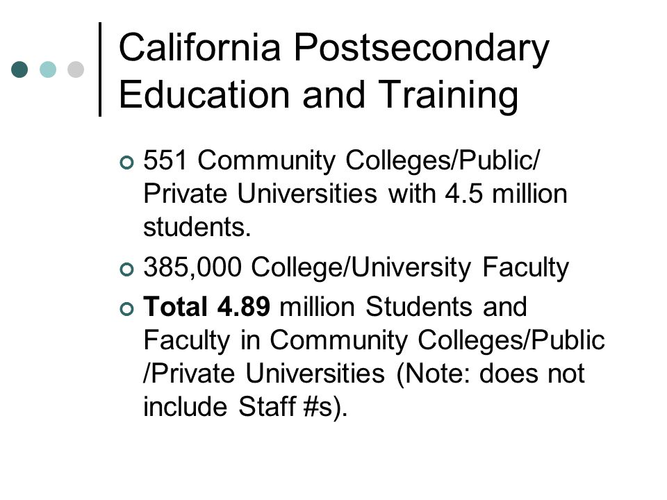California Postsecondary Education and Training 551 Community Colleges/Public/ Private Universities with 4.5 million students.
