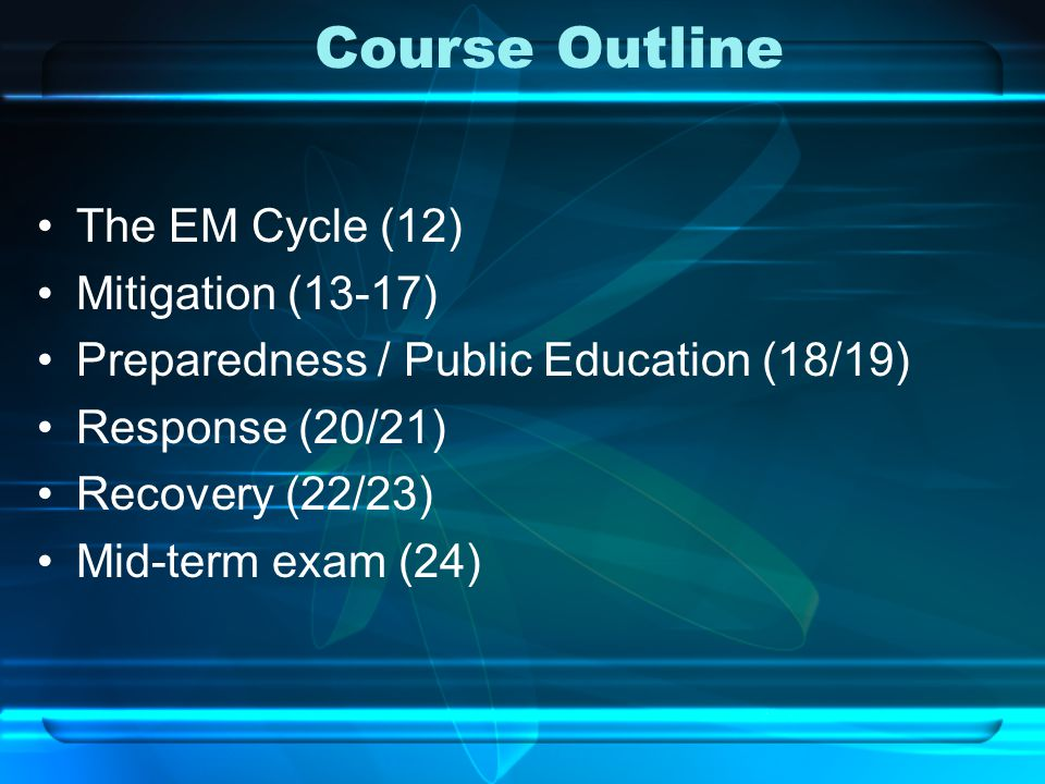 Course Outline The EM Cycle (12) Mitigation (13-17) Preparedness / Public Education (18/19) Response (20/21) Recovery (22/23) Mid-term exam (24)