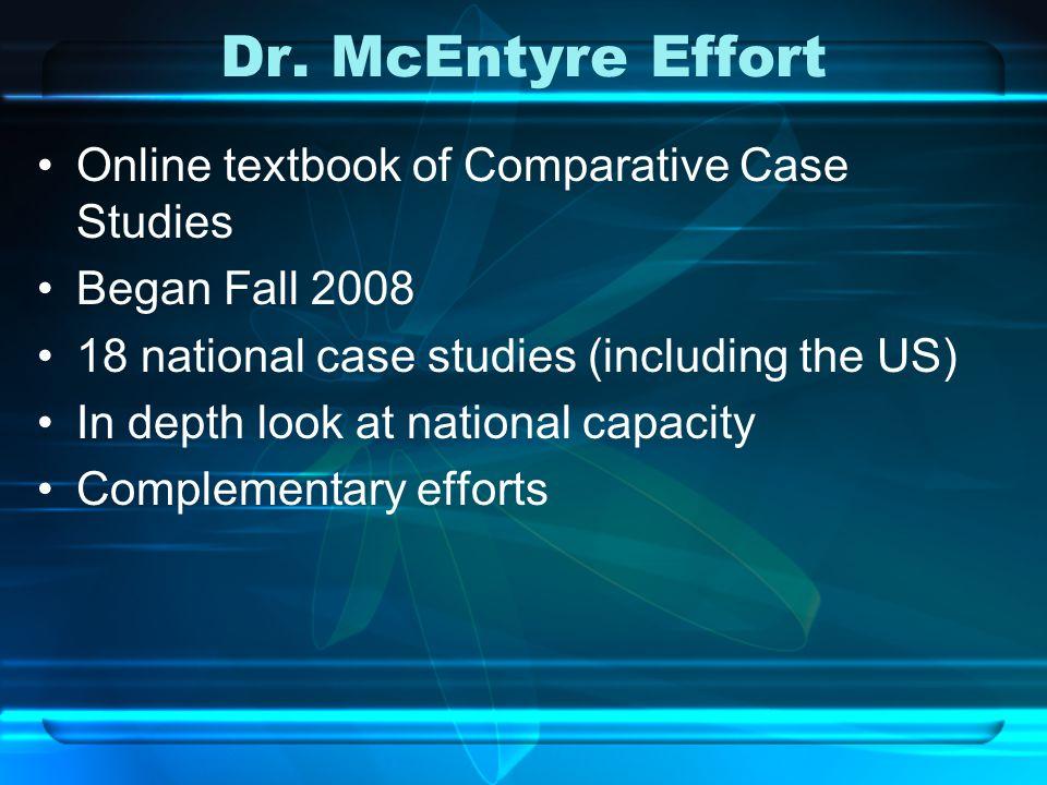 Dr. McEntyre Effort Online textbook of Comparative Case Studies Began Fall 2008 18 national case studies (including the US) In depth look at national
