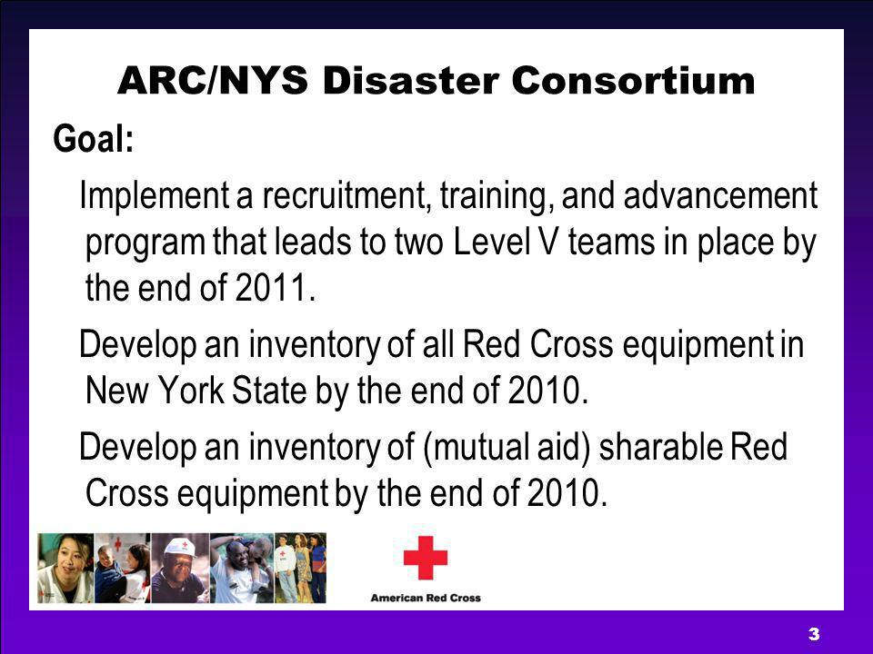 3 ARC/NYS Disaster Consortium Goal: Implement a recruitment, training, and advancement program that leads to two Level V teams in place by the end of 2011.