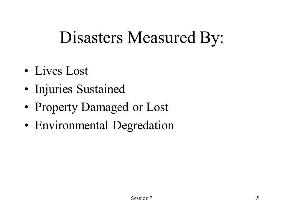 Session 75 Disasters Measured By: Lives Lost Injuries Sustained Property Damaged or Lost Environmental Degredation