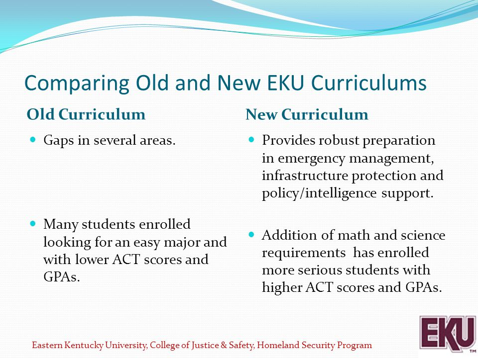 Comparing Old and New EKU Curriculums Old Curriculum New Curriculum Gaps in several areas.